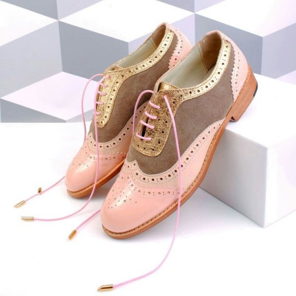 Pink and Brown Wingtip Women's Oxfords Lace up Flat Vintage Brogues image 1