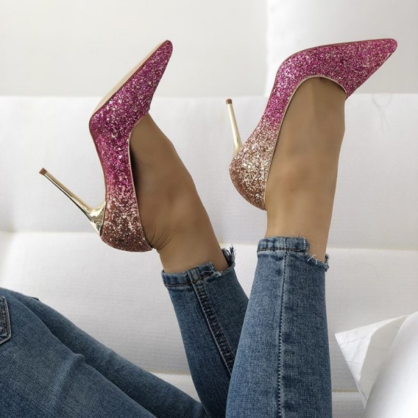 Pink and Gold Glitter Stiletto Heels Evening Shoes image 1
