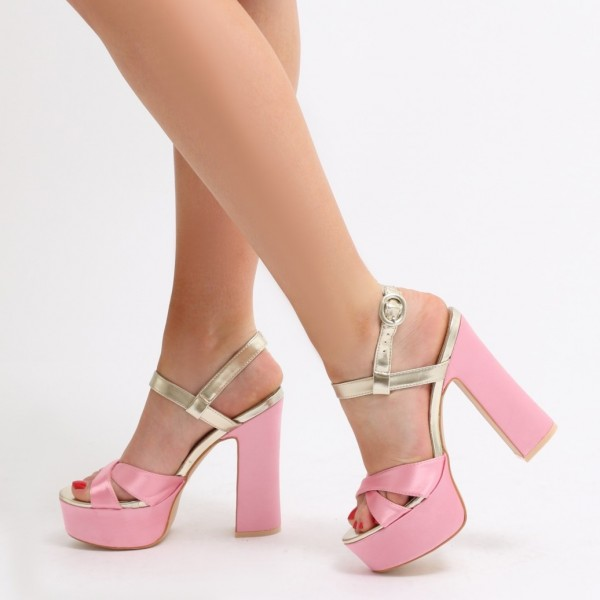 8202bdf7501 Pink and Gold Platform Sandals Open Toe Chunky Heel Sandals image 1 ...