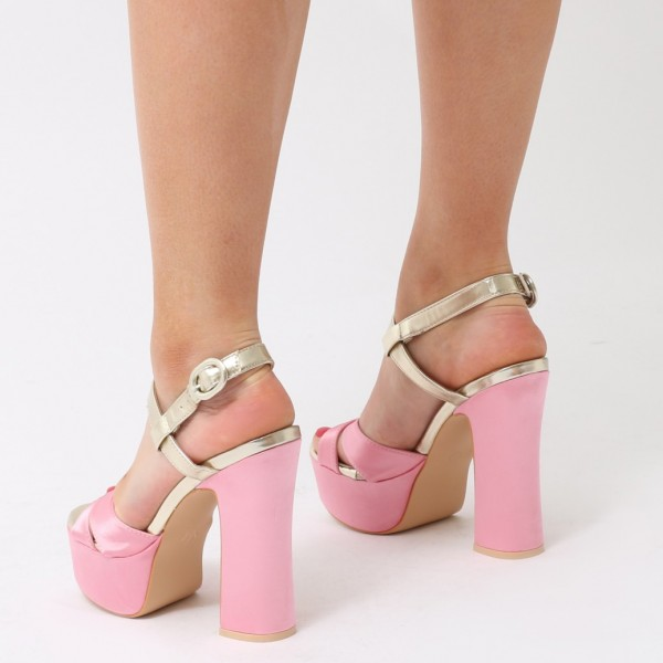 Pink and Champagne Platform Sandals Peep Toe Chunky Heel Sandals image 4