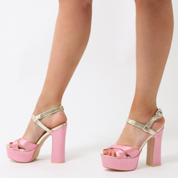 Pink and Champagne Platform Sandals Peep Toe Chunky Heel Sandals image 5