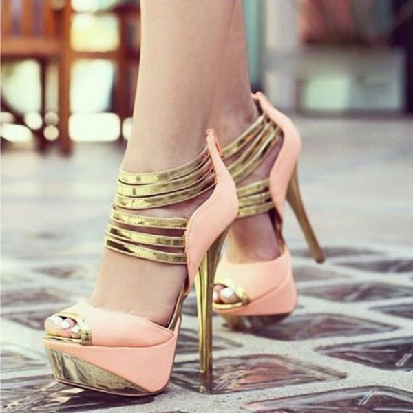 Pink and Gold Platform Sandals Peep Toe High Heel Ankle Strap Sandals image 1