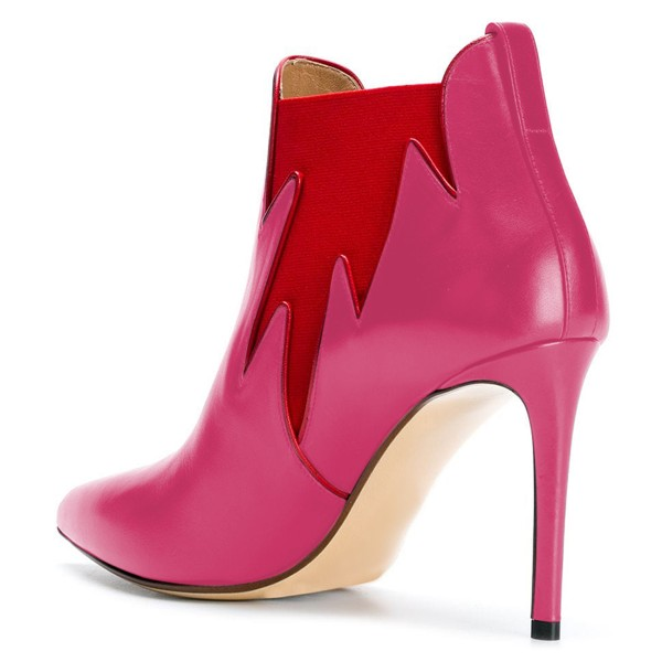 Pink and Red Chelsea Boots Stiletto Heel Fashion Ankle Boots image 2