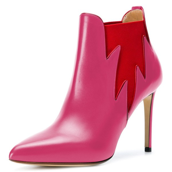 Pink and Red Chelsea Boots Stiletto Heel Fashion Ankle Boots image 1