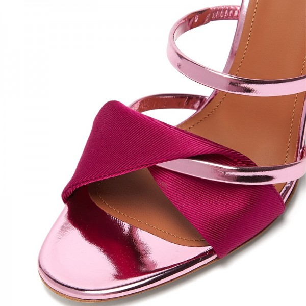 Pink and Red Strap Mule Heels Sandals image 2
