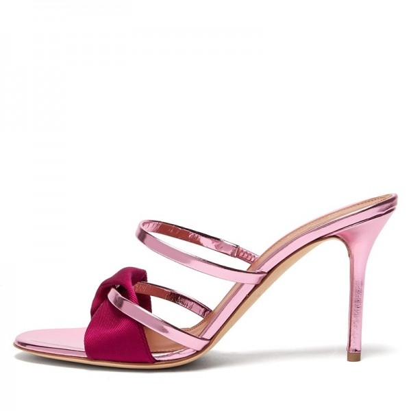 Pink and Red Strap Mule Heels Sandals image 1