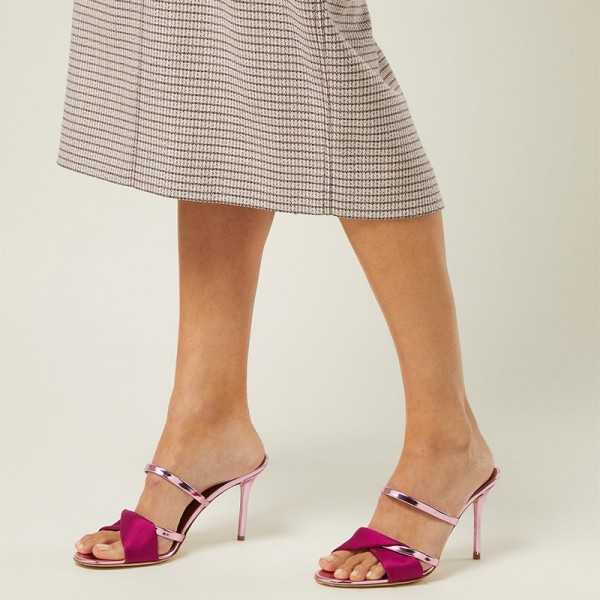 Pink and Red Strap Mule Heels Sandals image 3