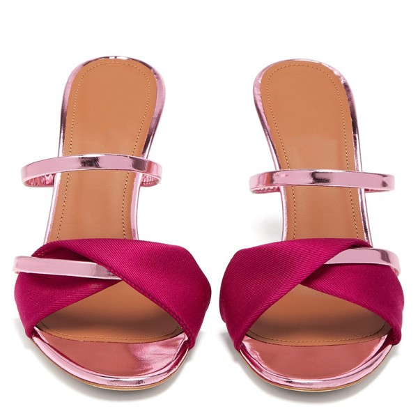 Pink and Red Strap Mule Heels Sandals image 5