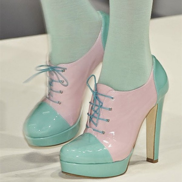 Pink and Turquoise Patent Leather Chunky Heel Platform Lace Up Boots image 1
