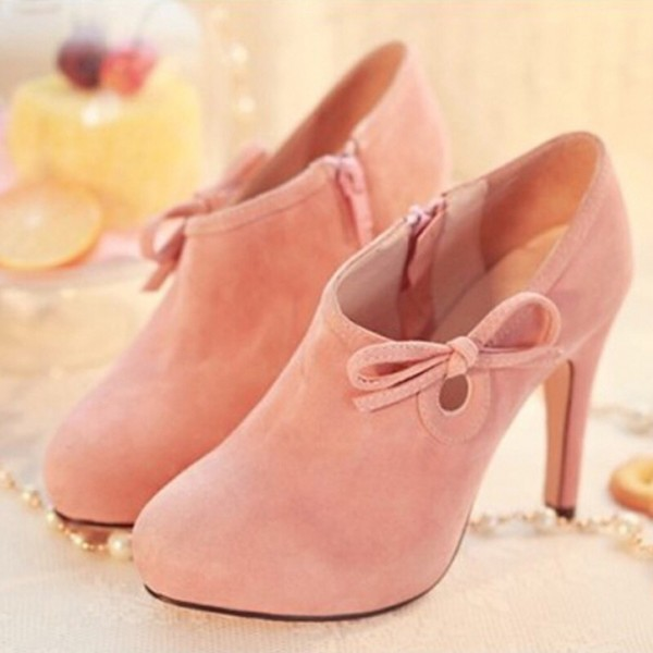 Lovely Pink Heeled Boots Suede Cute Platform Ankle Booties wth Bow image 1