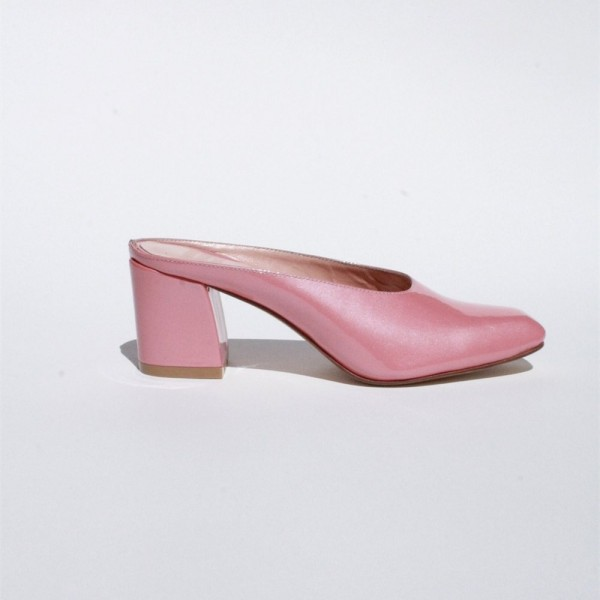 Pink Block Heels Sandals Round Toe Mules US Size 3 -15 image 2