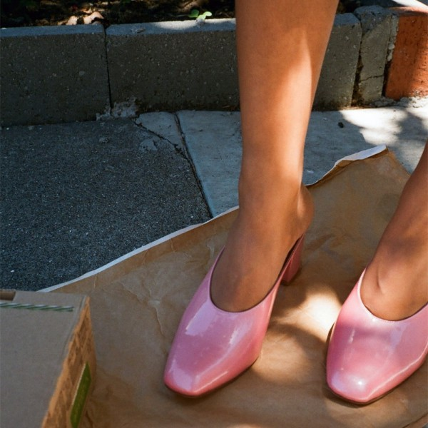 Pink Block Heels Sandals Round Toe Mules US Size 3 -15 image 3