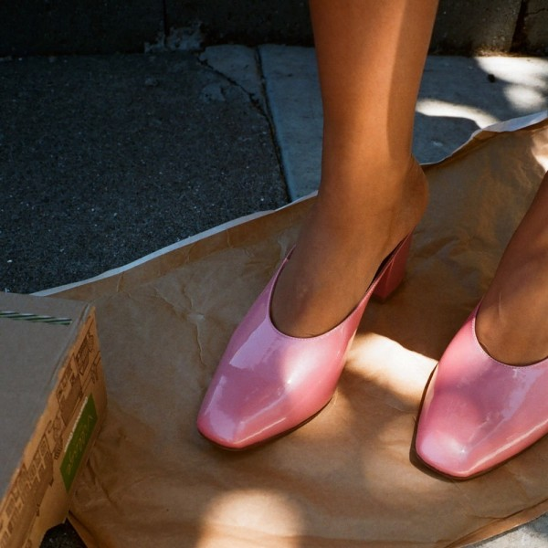 Pink Block Heels Sandals Round Toe Mules US Size 3 -15 image 4