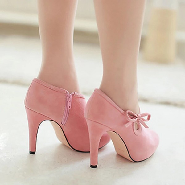 Lovely Pink Heeled Boots Suede Cute Platform Ankle Booties wth Bow image 3