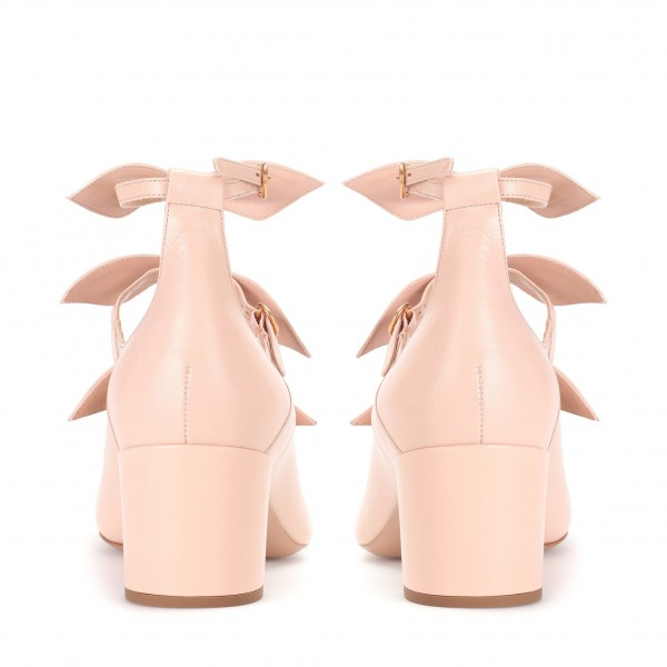 Blush Bow Tri Strap Cute Mary Jane Shoes Round Toe Block Heels Pumps image 3
