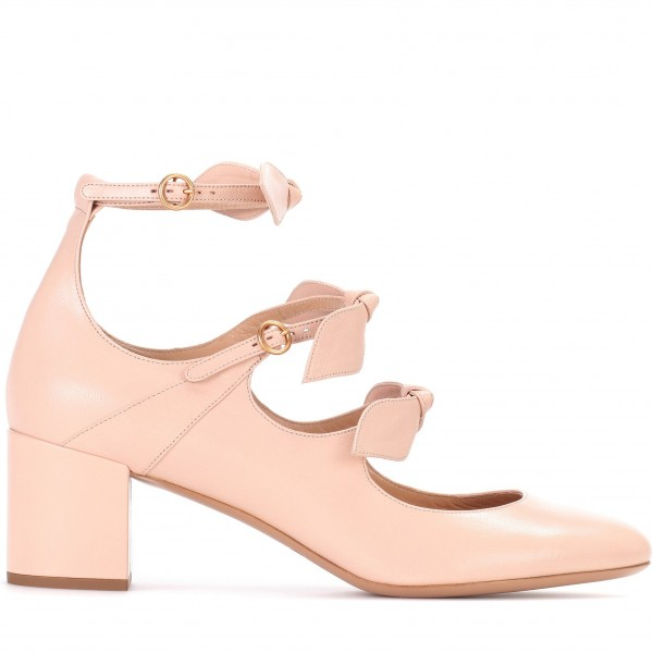 Blush Bow Tri Strap Cute Mary Jane Shoes Round Toe Block Heels Pumps image 2