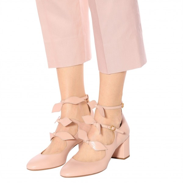 Blush Bow Tri Strap Cute Mary Jane Shoes Round Toe Block Heels Pumps image 4