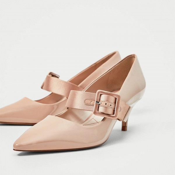 Pink Buckle Mary Jane Pumps Pointy Toe Kitten Heels Vintage Shoes image 1