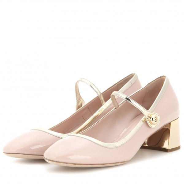 Blush Buckle Mary Jane Pumps Patent Leather Block Heels Vintage Shoes image 1