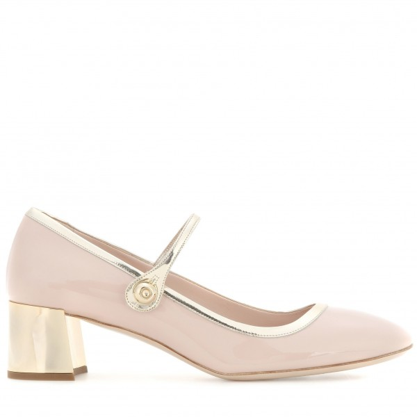 Blush Buckle Mary Jane Pumps Patent Leather Block Heels Vintage Shoes image 2