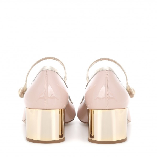 Blush Buckle Mary Jane Pumps Patent Leather Block Heels Vintage Shoes image 3
