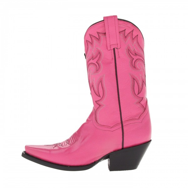 Pink Chunky Heels Cowgirl Boots Square Toe Ankle Booties image 4