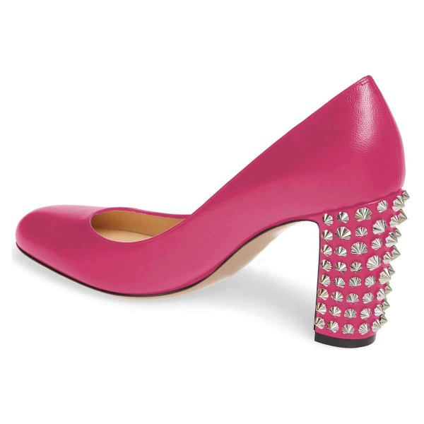 Pink Chunky Heels Pumps with Studs image 2