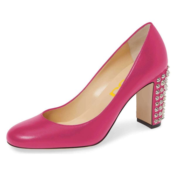 Pink Chunky Heels Pumps with Studs image 1