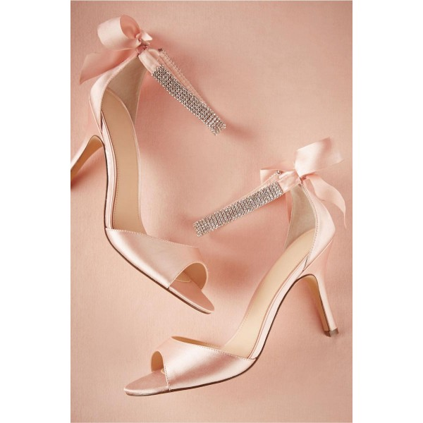 Women's Pink Bridal Sandals Bow Stiletto Heels Ankle Strap Sandals image 2