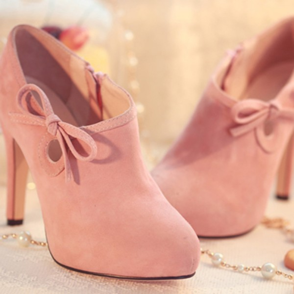 Lovely Pink Heeled Boots Suede Cute Platform Ankle Booties wth Bow image 6