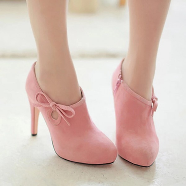 Lovely Pink Heeled Boots Suede Cute Platform Ankle Booties wth Bow image 4