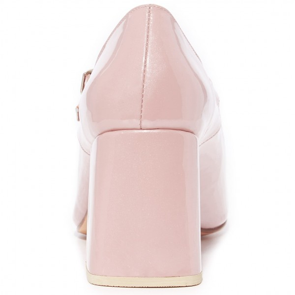 Pink Cute Mary Jane Shoes Square Toe Block Heels Pumps image 3