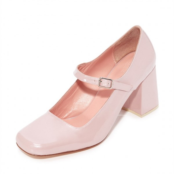 Pink Cute Mary Jane Shoes Square Toe Block Heels Pumps image 2