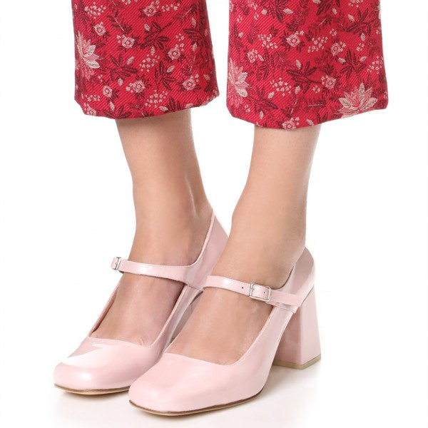 Pink Cute Mary Jane Shoes Square Toe Block Heels Pumps image 1
