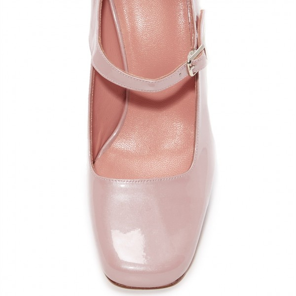 Pink Cute Mary Jane Shoes Square Toe Block Heels Pumps image 5
