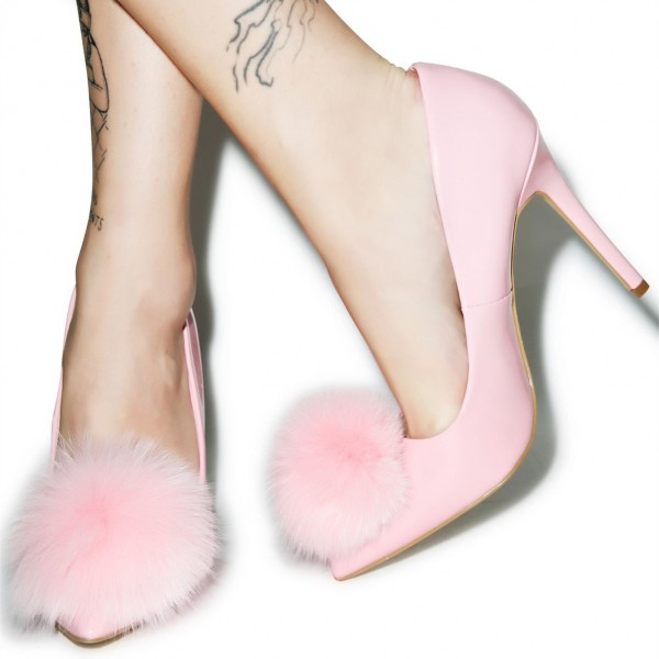 Pink Cute Pom Pom Shoes Pointy Toe Stiletto Heel Pumps image 1