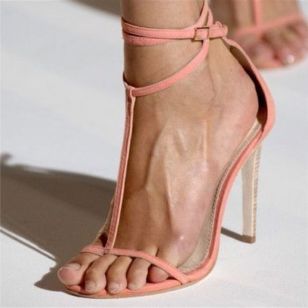Pink Open Toe T Strap Sandals Stiletto Heels Thin Strap Sandals image 1