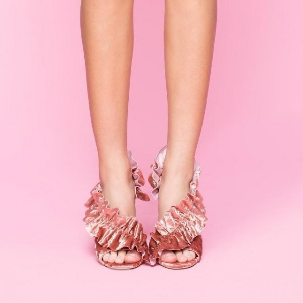 Pink Evening Shoes Suede Lace Stiletto Heels Sandals image 3