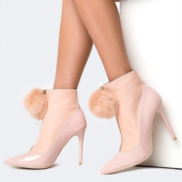 Pink Fur Boots Pointy Toe Stiletto Heel Ankle Booties for Women image 1
