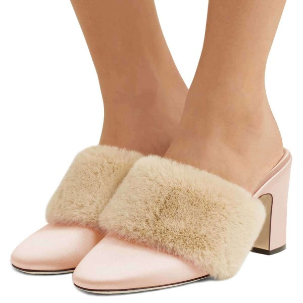 033c9e9cc516 Pink Fur Heels Round Toe Chunky Heel Trending Mules US Size 3-15 image 1 ...