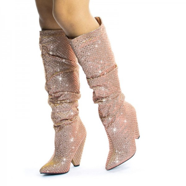 Pink Glitter Boots Pointy Toe Chunky