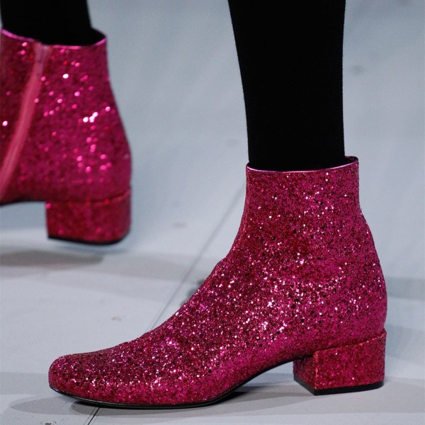 7f3f567c139 Pink Glitter Fashion Boots Round Toe Chunky Heels Ankle Booties