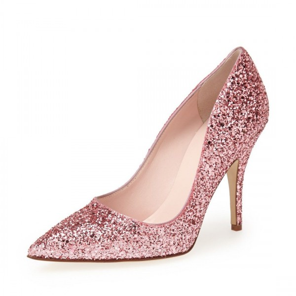 Pink Glitter Shoes Pointy Toe Stiletto