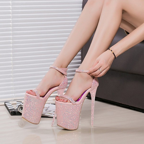 Pink Glitter Shoes Super Stiletto Heels Stripper Heels Sandals image 1