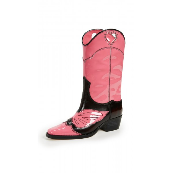 Pink Heart Western Boots Chunky Heel Mid Calf Boots with Rhinestone image 1