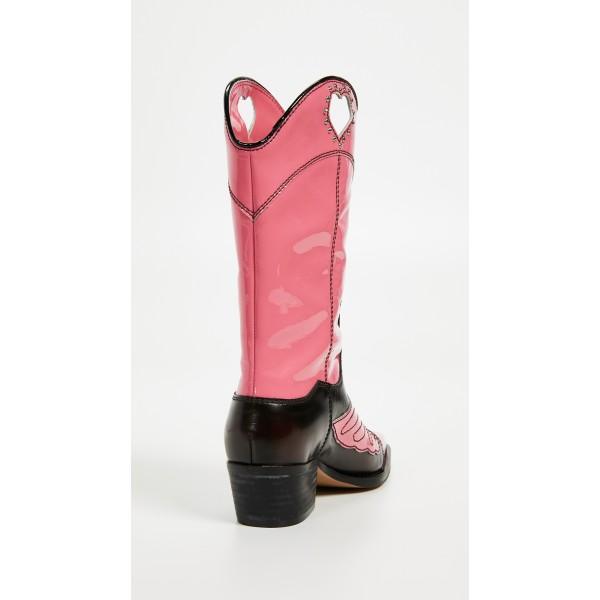 Pink Heart Western Boots Chunky Heel Mid Calf Boots with Rhinestone image 3
