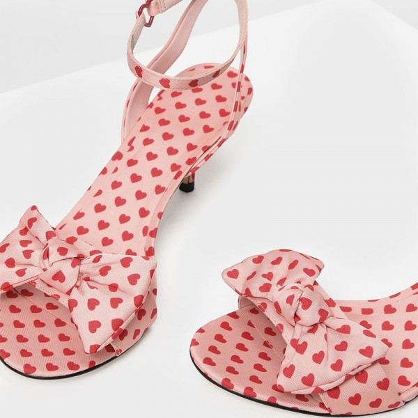 Pink Hearts Bow Ankle Strap Kitten Heels Sandals image 4