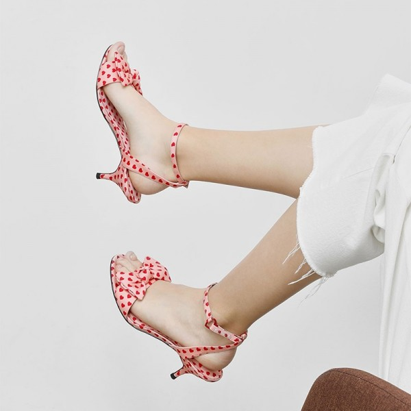 Pink Hearts Bow Ankle Strap Kitten Heels Sandals image 3