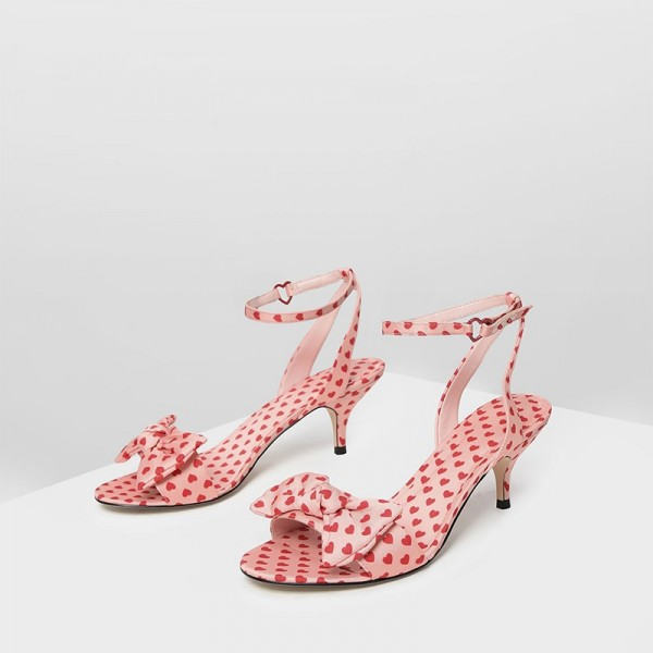 Pink Hearts Bow Ankle Strap Kitten Heels Sandals image 1