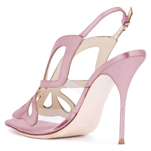 Pink Hollow Out Clear PVC Slingback Heels Sandals  image 3